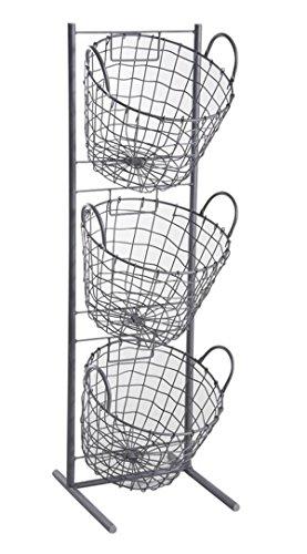 PEGANE Présentoir en métal Gris avec 3 corbeilles Rondes, 29 x 27 x 90 cm