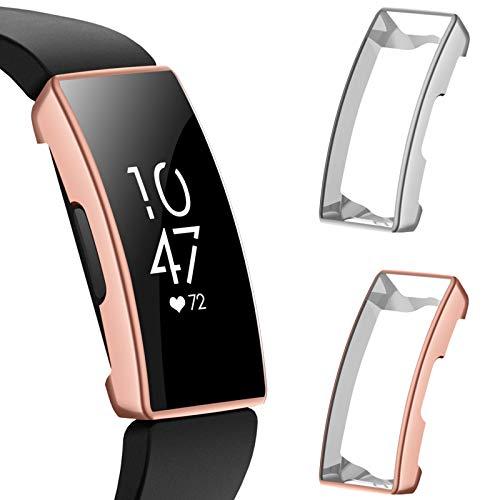 CAVN Schutzhülle Kompatibel mit Fitbit Inspire HR/Inspire Schutzfolie Hülle (2-Stück), Flexibles TPU Superdünner Vollschutz Bruchsicher Stoßfestes Bildschirmschutz Hülle für Inspire HR/Inspire