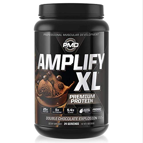 PMD Sports Amplify XL Premium Whey Protein Supplement Hydro Greens Blend - Glutamine and Whey Protein Matrix with Superfood for Muscle, Strength and Recovery - Double Chocolate Explosion (24 Servings)