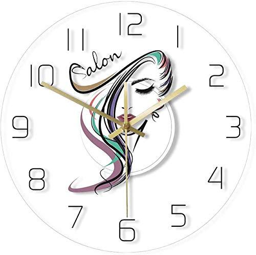 Reloj de Pared Beauty Time peluquería salón peluquería diseño acrílico Transparente Reloj de Pared peluquería peluquería Reloj de Pared Arte Regalo para Mujer 30 x 30 cm