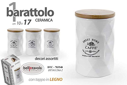 GICOS IMPORT EXPORT SRL - Juego de 3 tarros para sal y azúcar, de cerámica, con tapón de madera, color blanco, 10 x 17 cm, DTC-783548