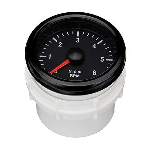 Yzibei Motorfiets-Odometer 52 mm 0-6000 RPM Elektrische snelheidsmeter Leer voor Diesel Motor