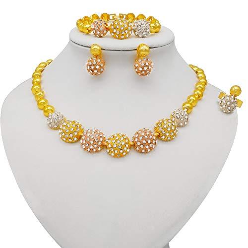 xtszlfj Conjuntos de Joyas de Color Dorado para Mujer, Cuentas africanas, Regalos de Boda, Collar de Fiesta, Pulsera, Pendientes, Conjunto de Joyas de Arabia Saudita