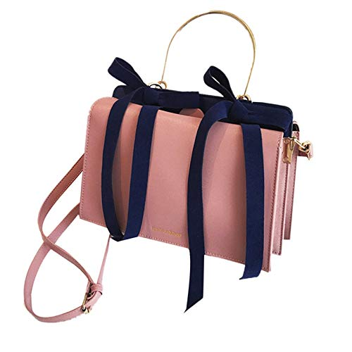 TOOGOO Bolsos de Mano de Mujer de Moda Bolso de Hombro Sencillo Casual en Color Liso Bolsa de Mano Bolsa de Mano Generosa Bolso de Mujer con Doble Lazo Diagonal Rosado