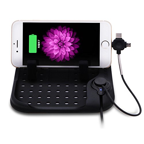 スマホスタンド シリコン車載ホルダー スマホホルダー スマートフォンスタンド 携帯スタンド 車載充電器 iphone/iPad スタンド GPSホルダー USBケーブル/3イン1マグネット充電コネクタ付