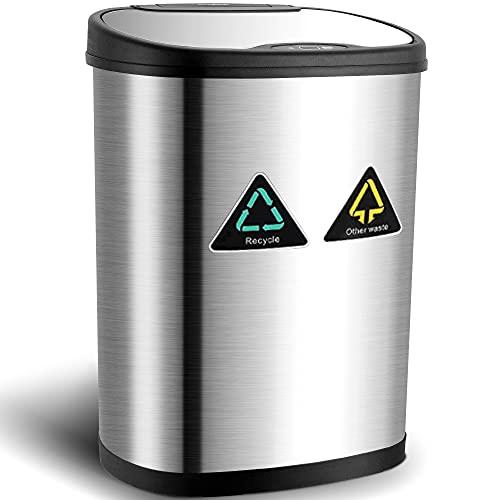 Amagabeli Cubo de Basura Automático - 13 Gallon / 50L Cubo de Basura con Sensor Automatico de Reciclaje Acero Inoxidable Sensor de Movimiento por Infrarrojos Sin Contacto Automático Cocina de Basura