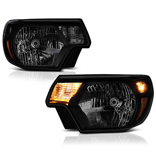For 2012-2015 Toyota Tacoma Pickup Truck Black Smoke Headlight Assembly Replacement Pair, Driver and Passenger Side