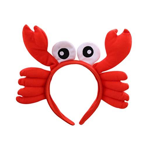 NUOBESTY Diadema de cangrejo divertida diadema de animales de ojo grande, sombrero de cangrejo de cangrejo accesorios para disfraz de fiesta de vestir diadema de 25 x 20 cm