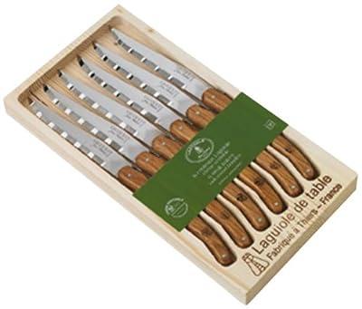 Laguiole Jean Dubost 97141–Set of 6Steak Knives in Wooden Box, Set