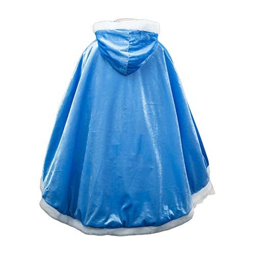 Costumi di Halloween Mantello Bambina Mantello con Cappuccio per Ragazza Principessa Elsa, Anna Belle Rapunzel Biancaneve Festa Cosplay Vestiti Inverno Vestaglia Giacca Travestimento Blu 4-5 Anni