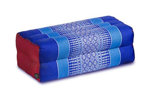 Cuscino per la meditazione yoga 35x15x10 cm, imbottitura Kapok, blu/giallo/verde