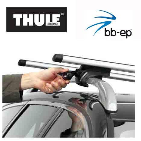 Thule Premium Aluminium Dachträger / Lastenträger Set mit neuer WingBar Traverse für SEAT Alhambra - 5 Türer MPV ab Baujahr 1996 bis 2000 - mit normale (hochstehender) Dachreling – Komplettset abschließbar inkl. Schloss und Schlüssel - kein weiteres Zubehör nötig!!! Inkl. 1 Liter Scheibenwasch Konzentrat Kroon Oil Screen Wash
