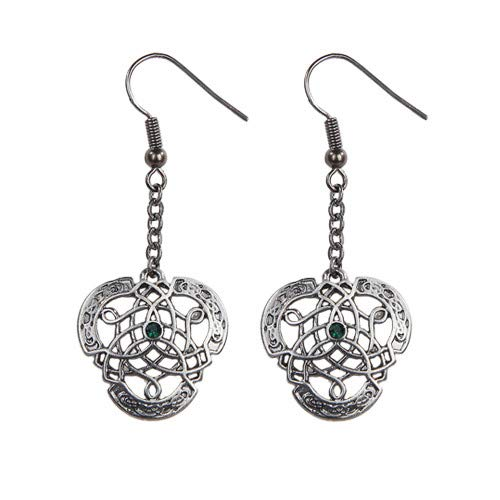 Pacific Giftware Celtic Knotwork with Green Crystal Pewter Earrings Jewelry- Mystica Collection