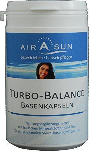 Basenpulver Kapseln Turbobalance 180 Stück - für den Säure Basen Haushalt mit Kalium, Calcium, Magnesium und Zink | Ideal bei Basenfasten • Sport • Diät