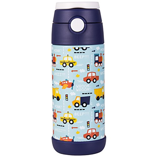 Snug Flask for Kids - Vacuum Insulated Water Bottle with Straw (Vroom)