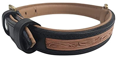 Soft Touch Collars Custom Handmade, Hand Tooled Medium Padded Leather Dog Collar, Black