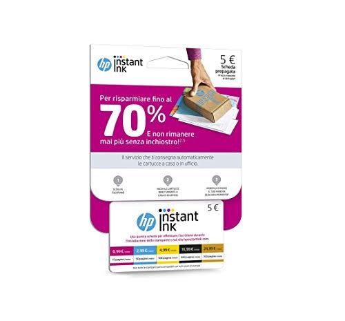 Scheda Prepagata per Registrazione al Servizio HP Instant Ink, Card dal Valore di Cinque Euro,...