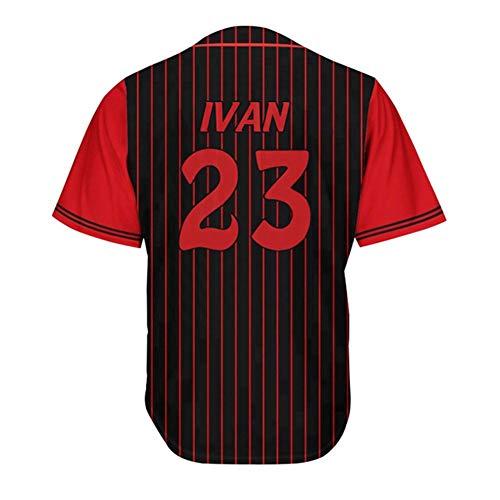 Ivan # 23 Sanbuno Hommes Baseball Shirt-Fans Baseball Wear T-Shirt à Manches Courtes Cardigan Maillot de Cyclisme Noir Vertical Stripe Button Top XXS-3XL-M