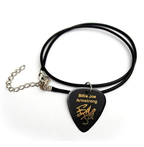 Billie Joe Armstrong Gold Printed Signature Gitarre Plektrum Plektron Cord Necklace 45,7 cm BG