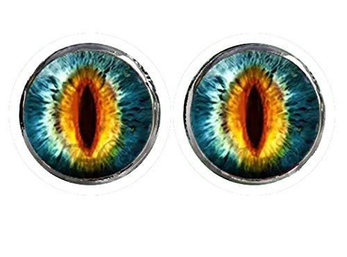 HYPOALLERGENIC Dragon Eye Earrings for Men Girls Earings Womens Scale Glitter 3D Button Shape Unisex Blue Green Orange