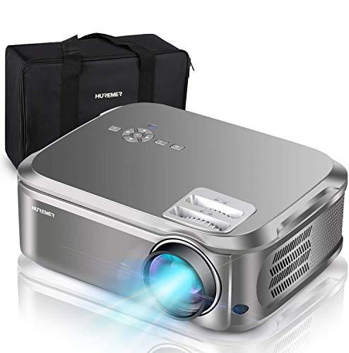 HUREMER - Proyector de vídeo Full HD de 6500 lúmenes, 1920 x 1080P, Nativo, retroproyector 4K sonido Dolby con ajuste digital 70,000 horas, proyector LED Home Cinema y presentación PPT