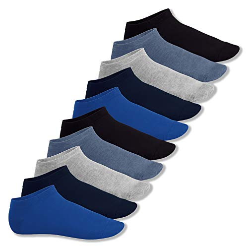 Footstar Herren und Damen Sneaker Socken (10 Paar), Kurze Sportsocken aus Baumwolle - Sneak It! - Jeanstöne 35-38