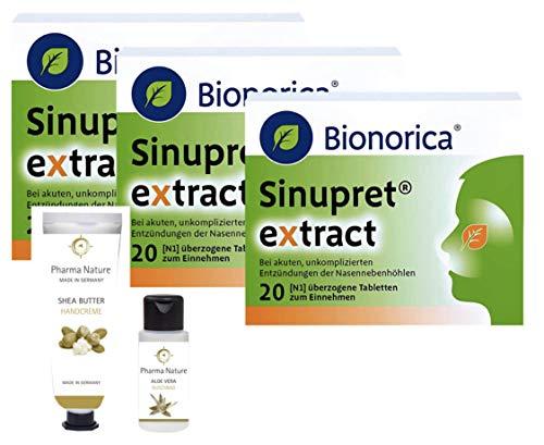 Sinupret Extract Sparset 3 x 20 Tabletten inkl. einer pflegenden Handcreme o. Duschbad von Pharma Nature