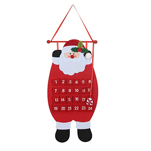 TAZEMAT 1er Adventskalender Stoff Weihnachten-Countdown Kalender Weihnachtsmann Hängender Dekorationen Home Decor zum Hängen mit 24 Tütchen für Süßigkeiten Schokolad Tür Wand