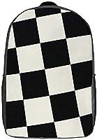 レディースメンズ17インチ軽量バックパック 黒と白のチェック柄パターンのスクールバッグ、調節可能なパッド入りショルダーストラップ付き