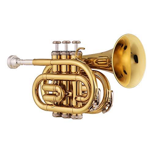 Muslady Mini tromba tascabile in Sib piatta Materiale d'ottone Strumento a fiato con Boccaglio Guanti Pezza per pulire Valigetta