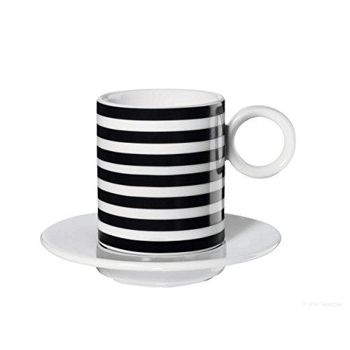 ASA 16014038 Memphis Espressotasse mit Untertasse - horizontal Stripes - Ø 5,5 cm - Höhe 6,3 cm