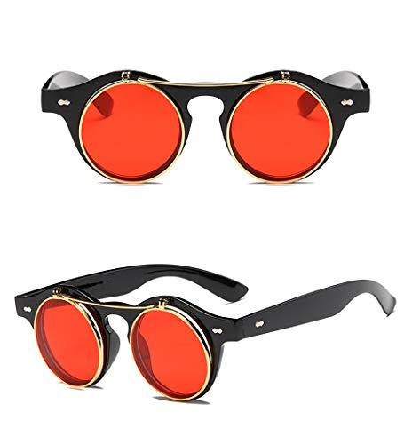 Gafas de Sol SteamPunk Flip UP doble capa con Funda y Gamuza para Mujer y Hombre (Rojo)