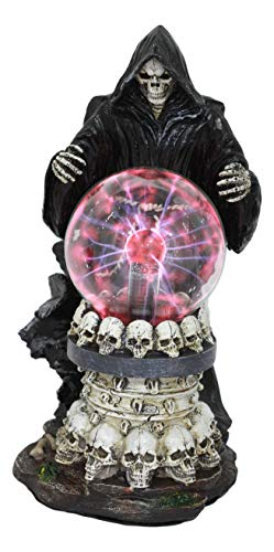 Ebros Gothic Alchemy Day of The Dead Grim Reaper Conjuring Death Electric Plasma Ball Lamp Statue Powered Flashing Lightning Bolt Party Scientific Bizarre Ambiance Accent Home Decor Figurine