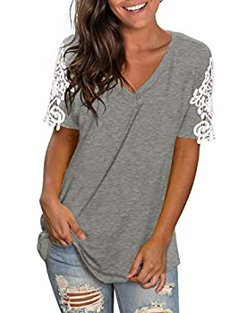 Cute Shirts for Women V Neck Splice Lace Short Sleeve Basic Tops Grey XL