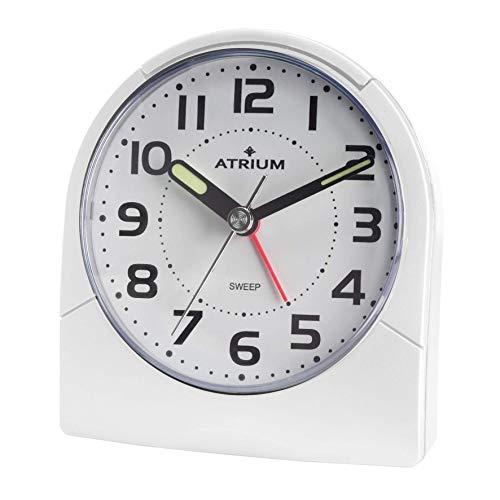Atrium A218-0 - Reloj despertador clásico con luz, analógico, cuarzo, sin tictac, color blanco