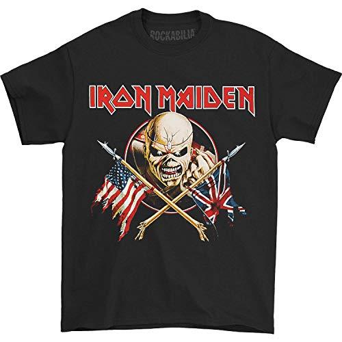 Iron Maiden - Camiseta para hombre, diseño de banderas cruzadas, color negro - Negro - Medium