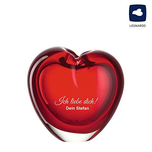 SNEG Rote Glasvase in Herzform mit persönlicher Gravur | Geschenk für Jubiläum, Hochzeit oder Jahrestag |Herzvase Maße: 10 x 10 x 7 cm