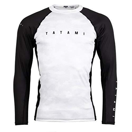Tatami Fightwear Langarm Rashguard Standard Weiß Camo - Herren Rash Guard für Jiu Jitsu, Fitness, Grappling, MMA (L)