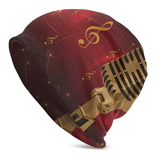 AEMAPE Skull Cap Vector Vintage Micrófono Unisex Beanie Cap Headgear...