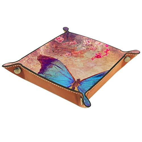 YATELI Caja de Almacenamiento pequeña, Bandeja de Valet para Hombre,Fondo de Mariposa Azul,Organizador de Cuero para Llaves de Caja de Monedas