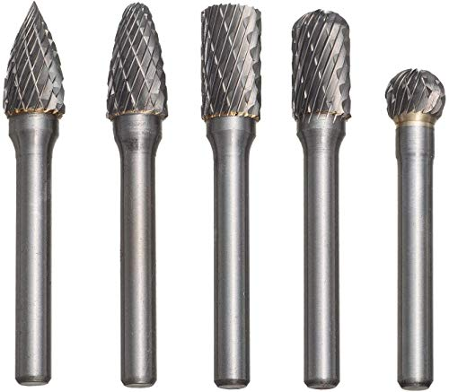 5pcs Tungsten Carbide Head 10mm Rotary Point Burrs Die Grander with 6mm Shank Cutter Bit Set for Metal, Steel, Marble, Jade, Bone, Wood Carving