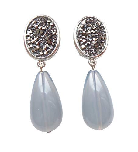 Dunkel-graue Ohrstecker Ohrringe sehr groß silber-farben Strass-Optik Anhänger grau-blau tropfen-förmig edel Statement Designer JUSTWIN