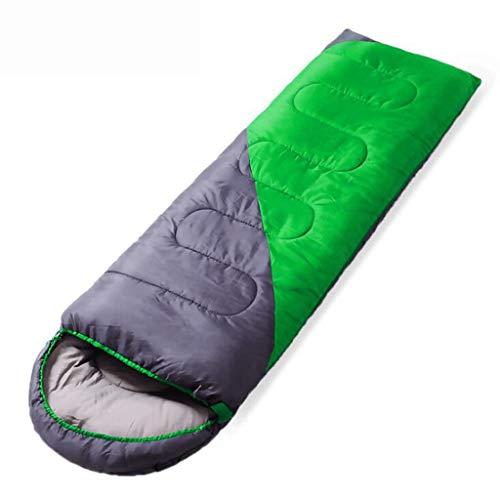 DAFREW Le Sac de Couchage d'enveloppe, Le Sac de Couchage Quatre Saisons Adulte de Camping extérieur Peut être doublé d'un Sac de Couchage (Couleur : Green, Taille : 1.3KG)