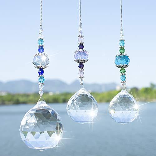 H&D HYALINE & DORA kristall Prismenkugel Regenbogen Maker Glas Fenster Sonnenfänger, 3 Stück