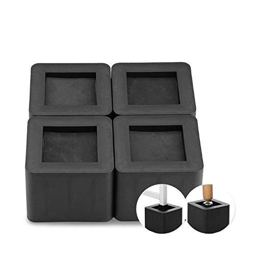 uyoyous 4 Stück Möbelerhöher Betterhöhung Bed Riser Möbelfüße Möbelerhöhung Tischerhöher Elefantenfuß für Bett Tischbeine Möbel Sofafuss - Quadrat Schwarz 8,5 cm