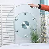 HXZ 360 ° drehbarer Hochleistungs-Drehteller, Lazy Susan transparente Glasschale, explosionsgeschützt, mit Hilfsrädern, für Küche/Esszimmer