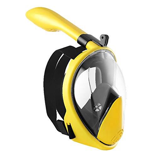 PXDM Mascarilla Facial de Snorkel, 180 ° Vista panorámica de Buceo Snorkel máscara Anti-Niebla con la acción de la cámara de Montaje para Adultos y Adolescentes,Amarillo