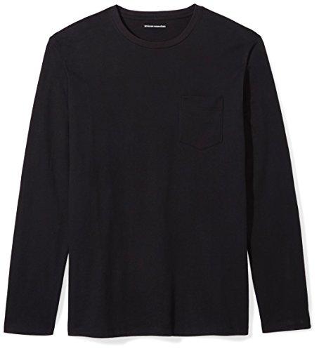 Amazon Essentials Men's Slim-Fit Long-Sleeve Pocket T-Shirt, Black, Small