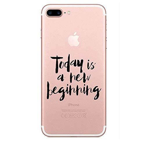 Funda iPhone 7 Plus,Carcasa iPhone 8 Plus Silicona Suave,Transparente Pluma y Inglés Frase Patrón Ultra Fina Brillante Crystal Clear Silicona TPU Case