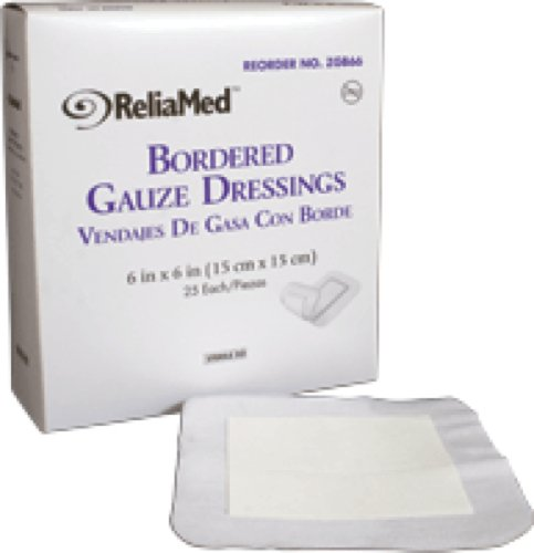 "ReliaMed Sterile Bordered Gauze Dressing 6"" x 6"" (25/Box) (Box of 25 Each)"